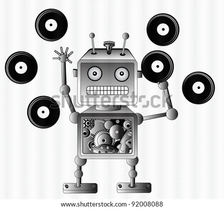 Black robot toy with vinyl records, music lover - stock photo