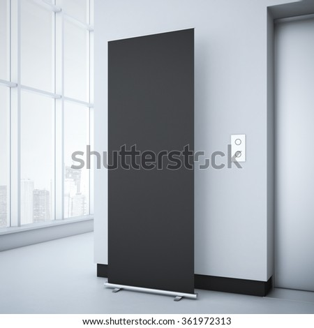 Black roll up in bright office interior. 3d rendering - stock photo