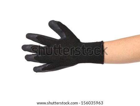 Black rubber protective glove. Isolated on a white background. - stock photo