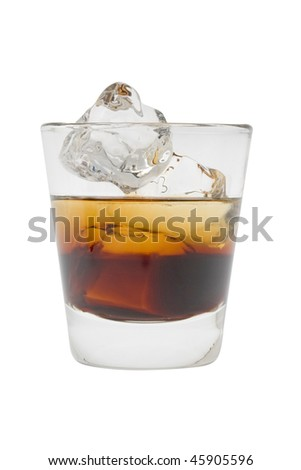Black Russian mixed drink on a white background - stock photo