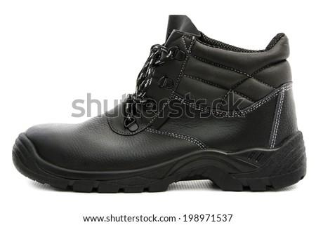 Black Safety Shoe / One Black Safety Shoe Isolated on White Background - stock photo