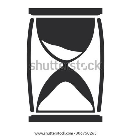 Black Sandglass Infographics Flat Icon, Sign Isolated on White Background - stock photo