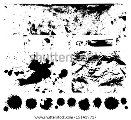 Black scratched, crumpled background (splashing, blob, spatter, spots, splat, blotch, splash). Isolated stain. Grunge texture with paint stains, dirty. Silhouette of splotches.  - stock photo