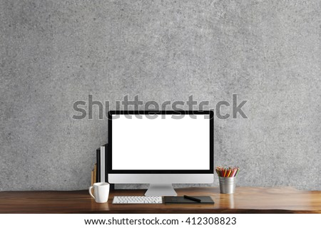 Black screen computer on table, workplace - stock photo