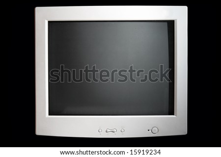 black screen of the monitor from computer isolated on black background - stock photo