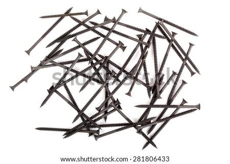 Black screws isolated on white - stock photo