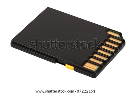 Black SD Memory Card. Isolated with clipping path. - stock photo