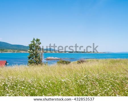 Black Sea seaside in Tsarevo town, Bulgaria in sunny spring day - stock photo