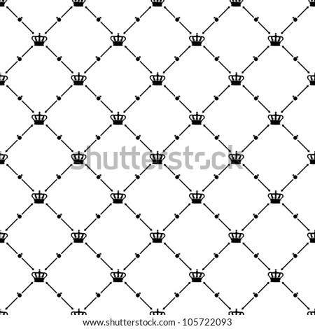 Black seamless pattern with king crown symbol, bitmap copy. - stock photo