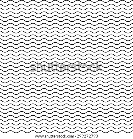 Black seamless wavy line pattern - stock photo
