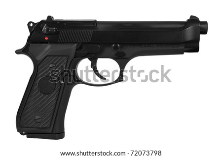 Black semi automatic handgun isolated on white background with a clipping path - stock photo