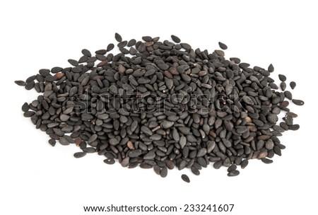 Black Sesame or botanical name Sesamum Indicum Seeds. - stock photo
