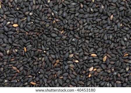 Black sesame seeds in close up shot - stock photo
