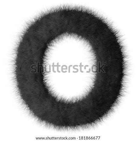 Black shag O letter isolated on white background - stock photo