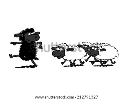 Black Sheep Leading White Sheep - stock photo
