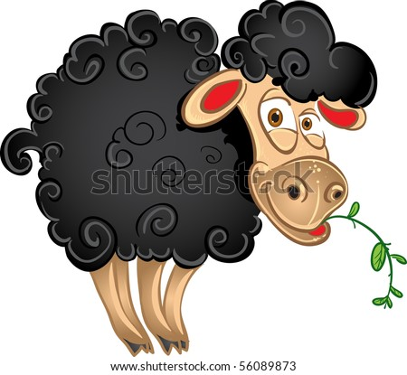 Black sheep with blade of grass. raster - stock photo