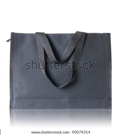 black shopping bag on reflect floor and white background - stock photo