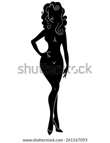 Black silhouette of a beautiful girl on a white background. - stock photo