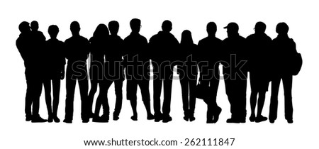 black silhouette of a large group of different people standing outdoor in different postures, back view - stock photo