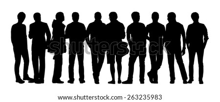 black silhouette of a large group of young men only talking standing in different postures - stock photo