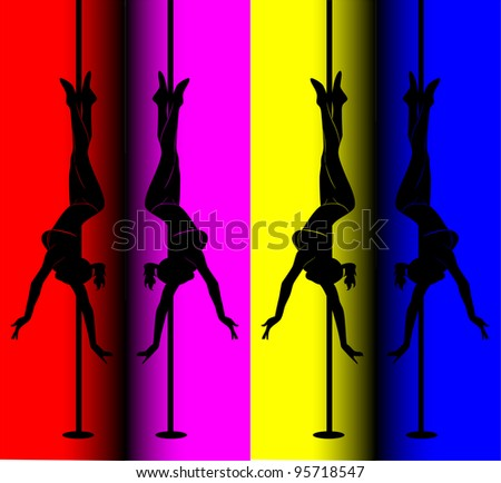 black silhouette of a sexy girl dancing on a pole - stock photo