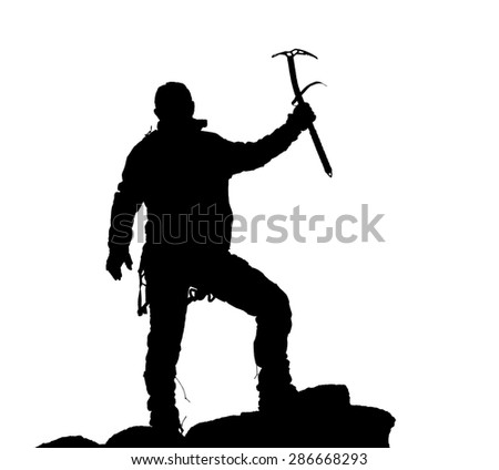 black silhouette of climber with ice axe in hand on the white background - stock photo