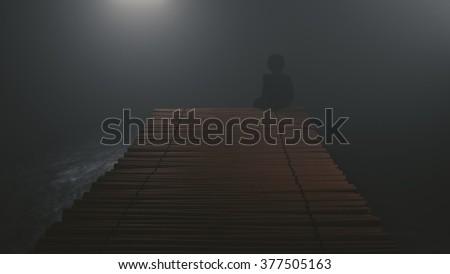 black silhouette on sea bridge - stock photo