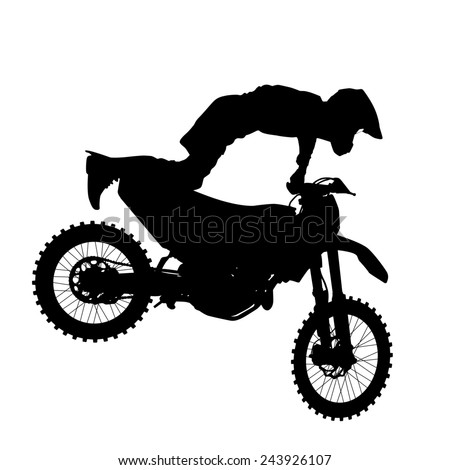 Black silhouettes Motocross rider on a motorcycle.  illustrations. - stock photo