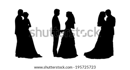 black silhouettes of bride and groom together in various postures, profile views - stock photo