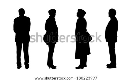 black silhouettes of men and a women of old age standing - front, back and profile views - stock photo