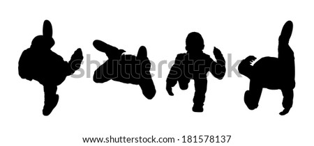 black silhouettes of men and women walking outdoor, top view - stock photo