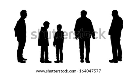 black silhouettes of men of different age standing and watching something carefully, front, back and profile views - stock photo