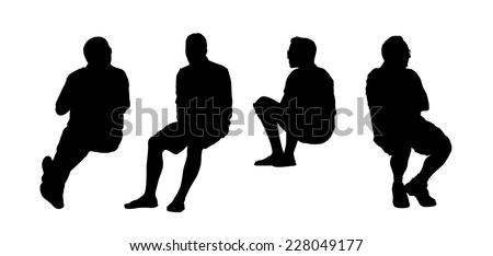 black silhouettes of men of different ages seated outdoor, front and profile views - stock photo
