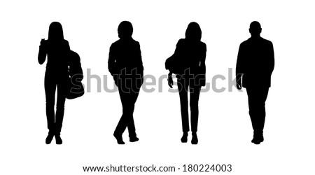 black silhouettes of ordinary young men and women walking outdoor; front and back views - stock photo