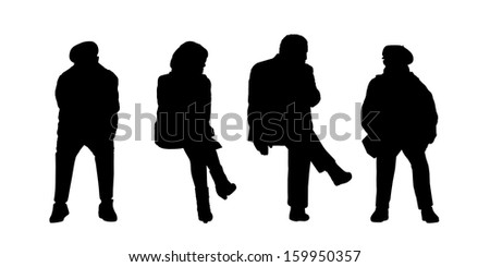 black silhouettes of people of different sex and age seated outside in various postures - stock photo