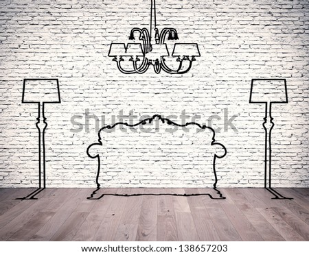 Black silhouettes of the furniture line before white brick wall - stock photo