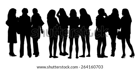 black silhouettes of three groups of different women only standing and talking to each other - stock photo