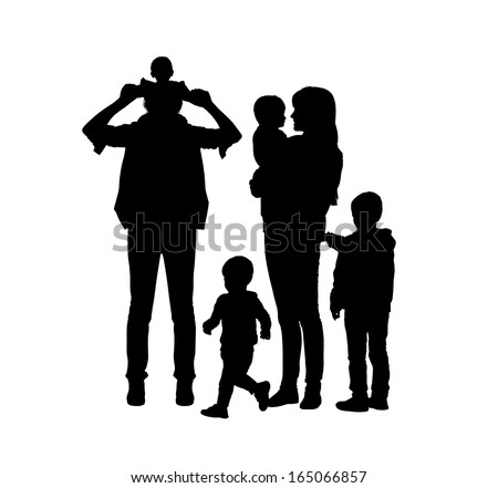 black silhouettes of young big family of two parents and their four sons of different age happy together - stock photo