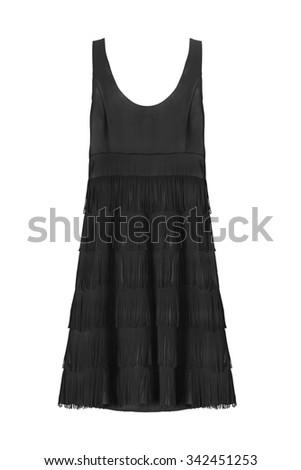 Black silk cocktail dress with fringe on white background - stock photo