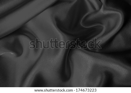 Black silk fabric background - stock photo