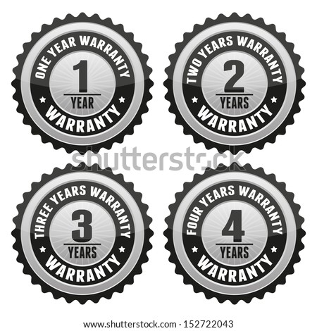 Black Silver Warranty Badge and Sign with one, two, three, four years warranty - banner, sticker, tag, icon, stamp, label - stock photo