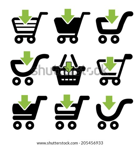 black simple shopping cart, trolley with green arrow, item - stock photo