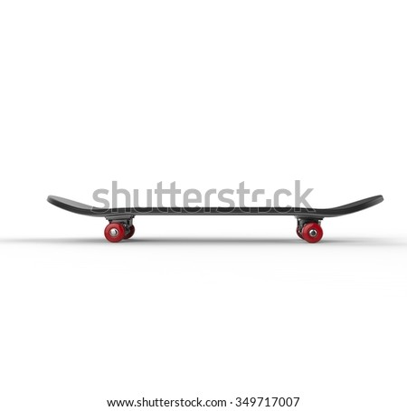 Black skateboard with red wheels, on white background, ideal for digital and print design. - stock photo