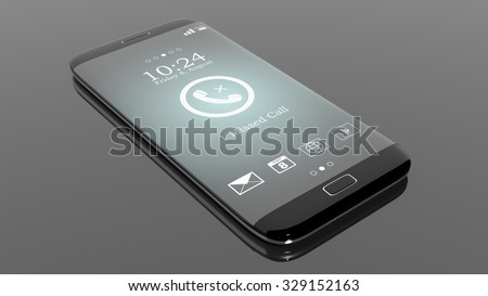 Black smartphone edge with Missed Call notification on screen, isolated on black. - stock photo