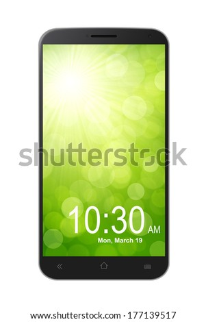 Black Smartphone Isolated on White Background - stock photo