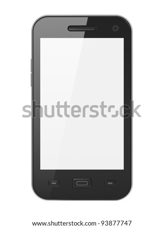 Black smartphone isolated on white background. Smart phone with blank white screen, 3d render. - stock photo