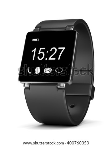 Black Smartwatch with App Icons, Digital Clock and Battery Level on Display on White Background 3D Illustration - stock photo