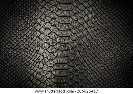 black snakeskin pattern texture background - stock photo