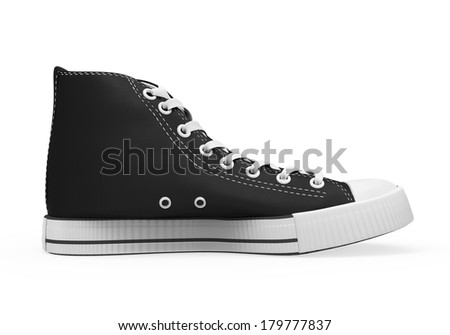 Black Sneakers Isolated - stock photo