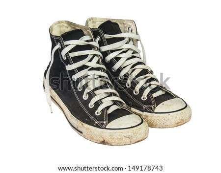 black sneakers isolated on a white background ,  with clipping path - stock photo